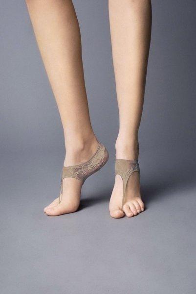 画像1: フットカバー(レース柄・足袋風・ベージュ)[JAPANESSE Foot beige] (1)