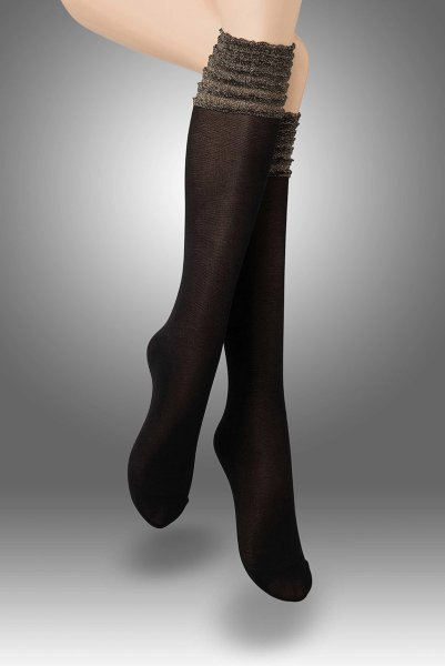 画像1: ハイソックス(フリル・ラメ・ブラック×ゴールド)[CIRCUS High-Socks nero] (1)